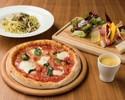 メルセデスの車両も目前。サラダ・パスタやピッツァ、デザート4皿をシェアでお楽しみいただけるランチ
