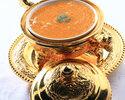 【ディナー・茉莉花】季節の食材入り前菜四種、見た目も華やか ウニ入ミニフカヒレ姿入りスープ、大海老チリ等