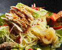 Cold Noodle with kaori chicken and summer vegetable, Green tea flavor sauce