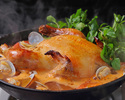【名物 丸鶏とクレソンのフリフリ鍋コース!! ¥4500】☆2H 飲み放題付☆忘年会にもお薦め! アサリと鶏出汁、生姜を効かせたスープにたっぷりクレソンとトマト。ジューシーな鶏の旨味を召し上がれ~♪
