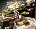 """[Online reservation only] Beef, Sushi, Tempura Kaiseki """"Luxury Sanmai"""" with one drink to choose"""
