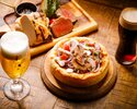 """Chicago pizza and chopped salad """"butcher course"""" 3,800yen [with toast drink]*Reservations from 2 people"""
