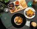 【Casual Plan】前菜盛合せとメインディッシュのシェアスタイル+スパークリング含む2時間飲み放題