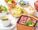 【ランチ×小会席】牛サーロイン肉、海老と野菜の天婦羅盛り合わせなど全7品ランチ星空小会席コース3,000円(税抜)