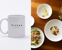 Vicky's Lunch Set B with Complimentary Glass Sparkling Wine and Original Mug