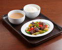 Wok-fried black pepper beef, bell pepper, onion, steamed rice, daily soup