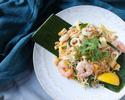 パッタイ + アジアンおかず2種 - 中太米麺で作る甘辛味のタイ風焼きそば