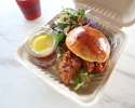 【TAKEAWAY】shrimp and sesame fried chicken burger, pickles, red cabbage and herb salad, sweet chilli sauce