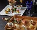 《7.8月限定 プレミアム記念日コース》 『本格握り寿司盛合せ』と 『A4和牛と活け鮑ステーキ&記念日デザート盛り』