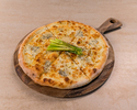 Pizza, ricotta, gorgonzola, mozzarella, Grana Padano, asparagus