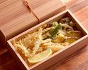 白海老と季節野菜の天ぷら(器ご返却の場合300円ご返金致します)
