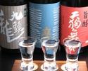 地酒飲み比べと北陸の珍味三種