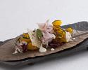 Autumn pumpkin salad Kobe pork loin ham, red mustard leaves and Parmigiano Reggiano