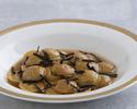 Tanba chicken ravioli mushrooms demi-glace, sudachi and  black truffle