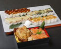 【デリバリー】骨付き鶏モモ肉の唐揚げと押し寿司(海老)