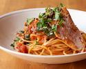 【テイクアウト】豚トロとほうれん草のトマトソーススパゲッティ