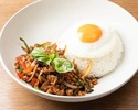 Gapao  -  stir fried minced chicken with fried egg