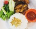 [Keluarkan] Roti Ayam Goreng Lala [ayam goreng dan sayuran mentah) dan nasi