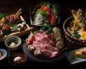 【特選黒毛和牛のすき焼きと蟹甲羅揚げコース】豪華新鮮鮮魚六点盛り、握り寿司、極上わらび餅、(全7品)2時間飲み放題付