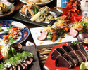 【大切な日に】アニバーサリープレート付き名物!鰹の藁焼き含むお造り3種盛り×選べる小丼など~全17品 豪華春色コース《食事のみ》