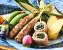 【6月のおすすめ】豚バラ肉の新生姜巻とヤングコーンの炭火焼 ※6月1日~