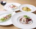 【UvaRara 6月の旬食材の特製ランチコース『イル・プランツォ』】アンティパスト2種、パスタ、選べるメイン、デザート盛り合わせ等全5品のイタリアンランチ