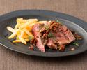 【テイクアウト】国産牛ロース肉のスパイスステーキ ガーリック醬油ソース 100g