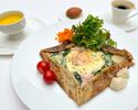 Petit déjeuner menu Breakfast menu A Galette Brittany (egg, ham, cheese, spinach) with mixed salad