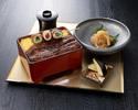 【9月末までの期間限定】 鰻と茶美豚巻き串のお重 食後の和菓子&ミニコーヒー付き