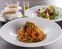 ヴィーガンメニュー 根菜と豆類の大豆ミートソース スパゲッティセット
