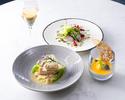 ランチ【前菜&お魚又はお肉料理&デザート】全3品+シャンパン1杯
