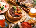 ◆2名様~6,000yen◆【ベルギークラフトビール5種スパークリング含む全50種2H飲み放題付き】開放的な店内/テラス席も!良いとこ取り!シカゴピザ×『山形牛』&『TOKYO X』肉2種盛りコース