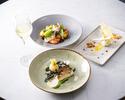 ディナー【前菜&お魚又はお肉料理&デザート】全3品+乾杯シャンパン付き